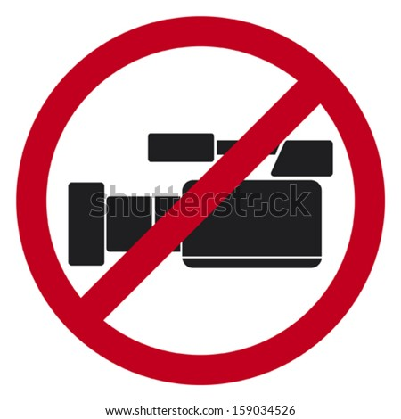 do not record video sign (no video allowed sign, do not record video icon, no video cameras public sign) - stock vector
