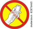 Do not talk mobile phone (cellphone) - stock vector
