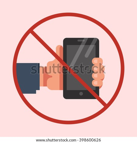 Do not use mobile phone sign. No mobile phone icon. No cell phone symbol. Vector flat illustration. - stock vector