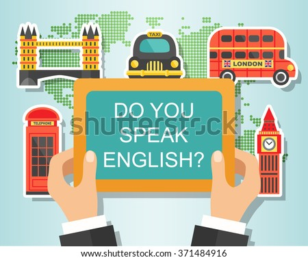 Do You Speak English? English Course Banner design with London landmarks, vector illustration. Studying English Concept - stock vector