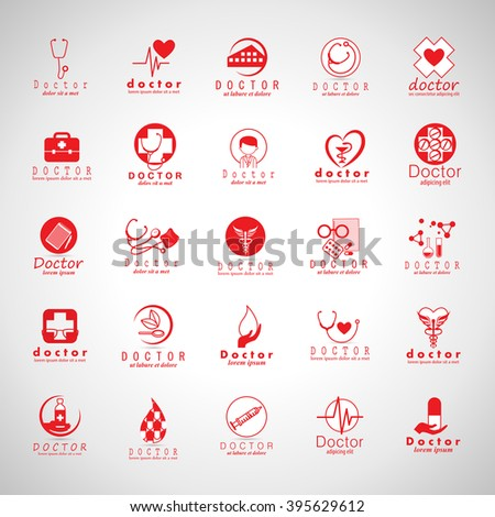 Doctor And Medical Icons Set-Isolated On Gray Background-Vector Illustration,Graphic Design.For Web,Websites,Print, App,Presentation Templates,Mobile Applications And Promotional Material,Collection - stock vector