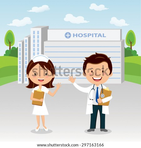 Doctor and nurse at hospital. Doctor and nurse gesturing in front of a hospital. - stock vector