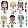 Doctor and Nurse Children set 1 - vector illustrations.  Shadow is on a separate layer for easy removal. - stock vector