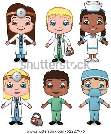 Doctor and Nurse Children set 1 - vector illustrations.  Shadow is on a separate layer for easy removal.