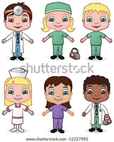 Doctor and Nurse Children set 3 - vector illustrations.  Shadow is on a separate layer for easy removal.