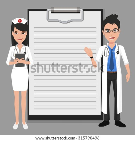 Doctor and Nurse showing blank clipboard sign for presentation - character design vector illustration - stock vector