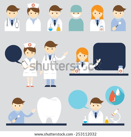 Doctor and nurse Symbol Icons Set - stock vector
