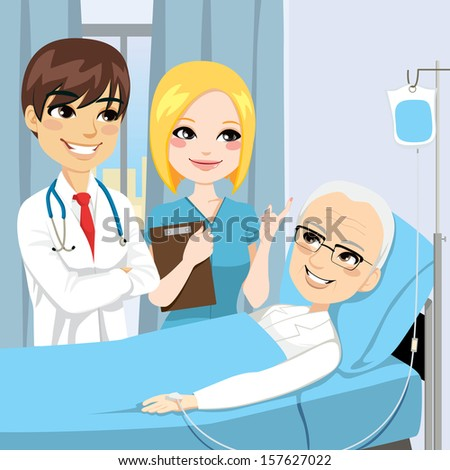 Doctor and nurse visit a senior old man patient lying down on hospital bed receiving intravenous chemotherapy cancer treatment - stock vector