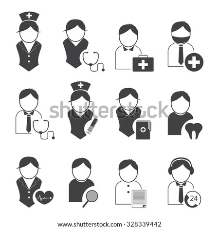 Doctor and nurses icons set