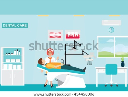 Doctor and patient at Dental care clinic or dentist office interior with medical dental arm-chair, table and poster, vector illustration. - stock vector