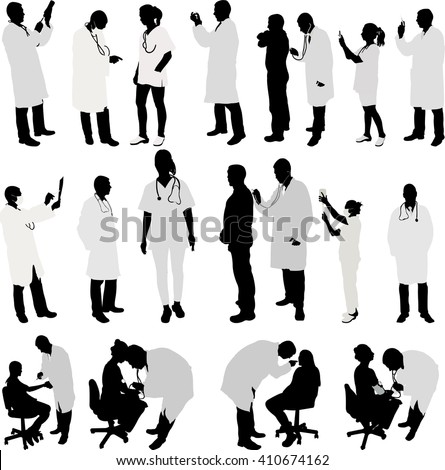 doctor and patient big collection silhouette - vector  - stock vector