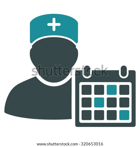 Doctor Calendar vector icon. Style is bicolor flat symbol, soft blue colors, rounded angles, white background. - stock vector