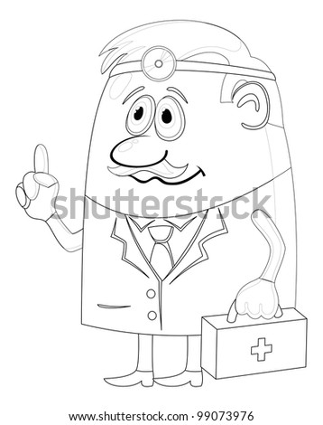 Doctor, cartoon character, man in uniform with first-aid kit and head mirror, contour. Vector - stock vector