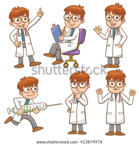 doctor cartoon character set EPS10 File simple Gradients