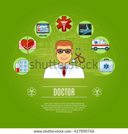 Doctor  Concept Icons Set. Vector illustration