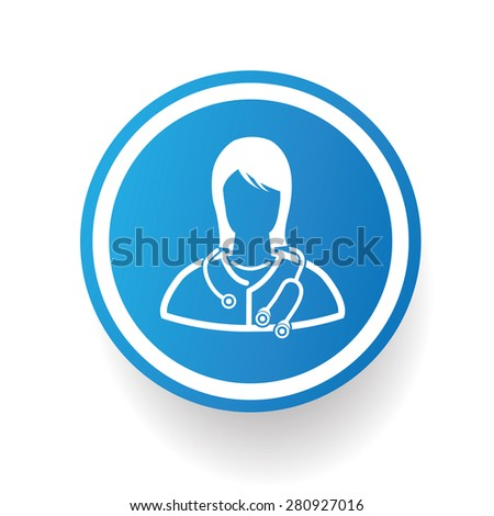 Doctor design icon on blue button,white background,clean vector - stock vector