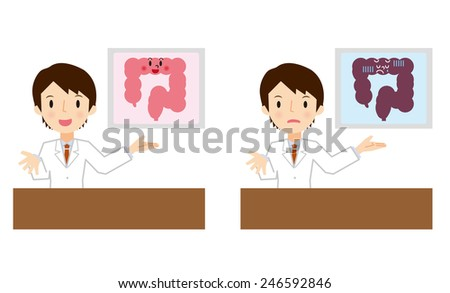 Doctor for a description of the bowel - stock vector