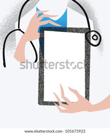 Doctor holding a tablet. Medical illustration. - stock vector
