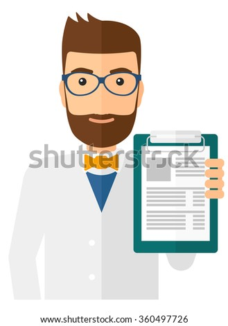 Doctor holding medical notepad. - stock vector