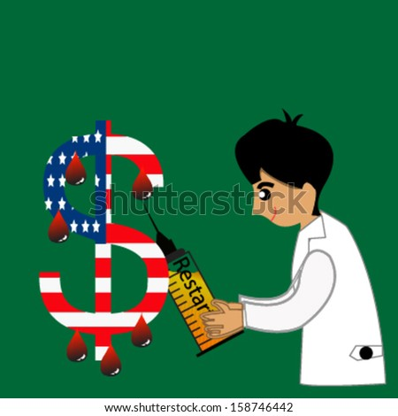 Doctor holding the syringe needle with bloods drop from us dollars, financial concept - stock vector