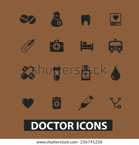 doctor, hospital icons, signs set, vector - stock vector