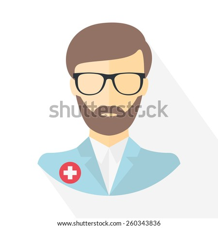 Doctor icon. Flat design. Vector illustration - stock vector