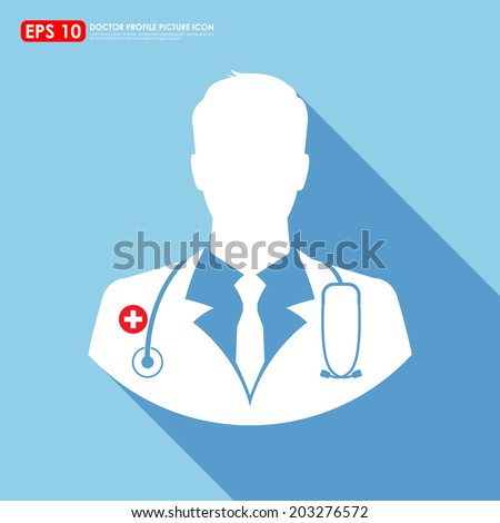 Doctor icon on light blue background - stock vector