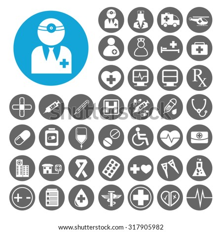 Doctor icons set. Illustration EPS10 - stock vector
