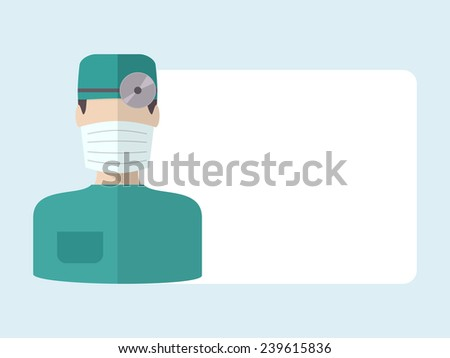 Doctor in bandage, flat vector isolated icon, prescription template - stock vector