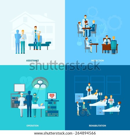 Doctor in hospital design concept set  with assistance operation rehabilitation and operation flat icons isolated vector illustration - stock vector