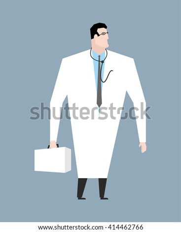 Doctor in white coat. Doc with stethoscope. Medical worker with glasses. Young man in white coat. Aesculapius isolated - stock vector