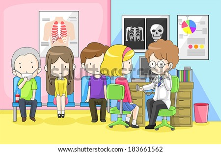 Doctor is examining group of children with stethoscope in hospital, create by vector - stock vector