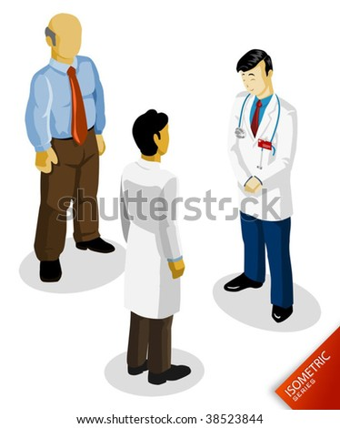 Doctor Isometric. Isometric Series. Compose Your Own World Easily with Isometric Works. - stock vector