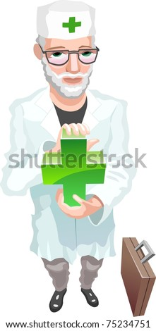 doctor keeping medical sign - stock vector