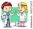 Doctor Kids Kids playing to be a doctors. Vector EPS10 file. - stock vector