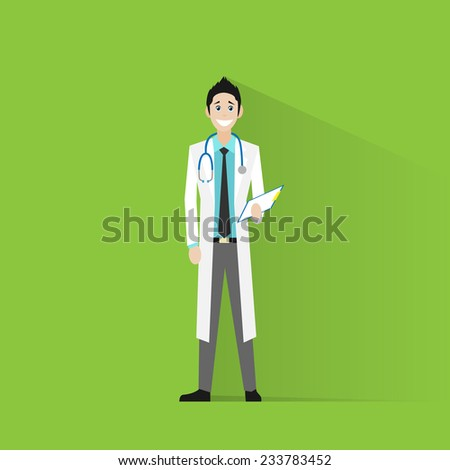 doctor man person icon flat vector illustration - stock vector
