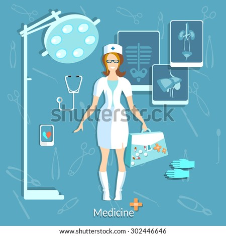 Doctor medicine student beautiful nurse smile x-ray operating room physician research hospital stethoscope hospital pills ambulance vector illustration - stock vector