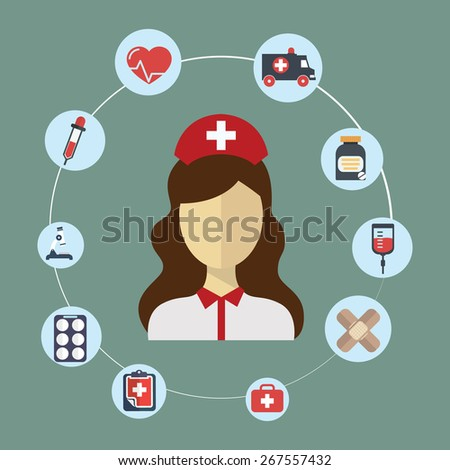Doctor, nurse concept flat icons set , hospital Doctor, nurse jobs for infographics design web elements vector illustration. - stock vector