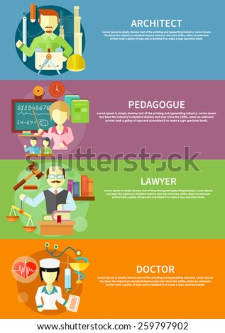 Doctor, nurse, hospital doctor, nurse jobs. Pretty teacher with a pointer. Man in court. Lawyer icons concept. architect constructor at his work place with tools. Concept in flat design - stock vector