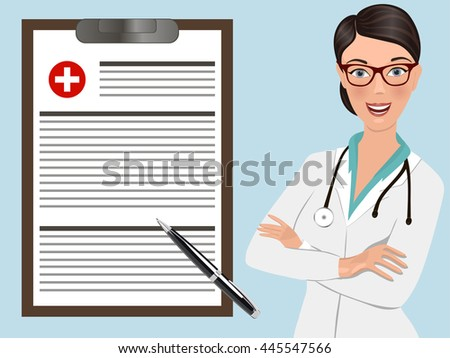 Doctor occupation character health care with notepad holder. Vector illustration.