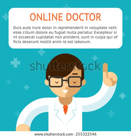 Doctor online on the turquoise background. Advice and treatment, indication and recipe. Vector illustration - stock vector