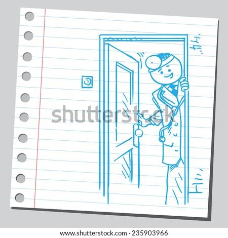 Doctor opening door - stock vector