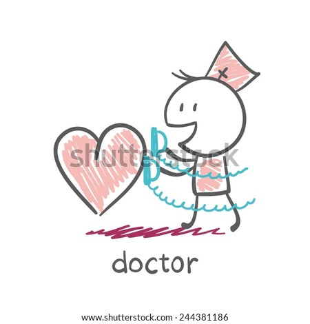Doctor saves heart defibrillator illustration - stock vector
