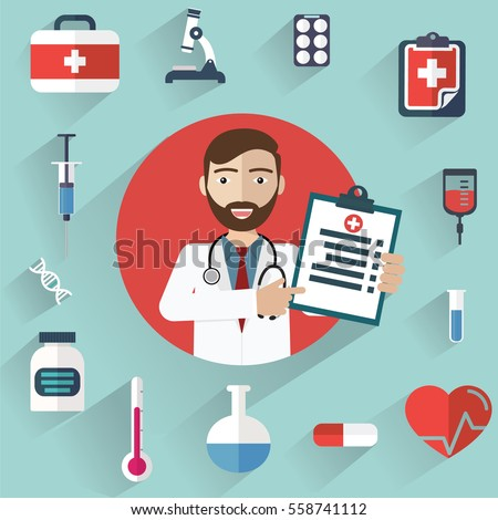 Diagnoses  >> Doctor Showing Diagnoses Medical Icons Circle Stock Vector 2018