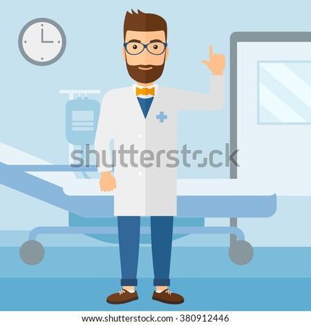 Doctor showing finger up. - stock vector