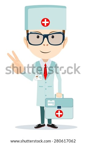 Doctor shows sign of victory. Stock vector illustration - stock vector