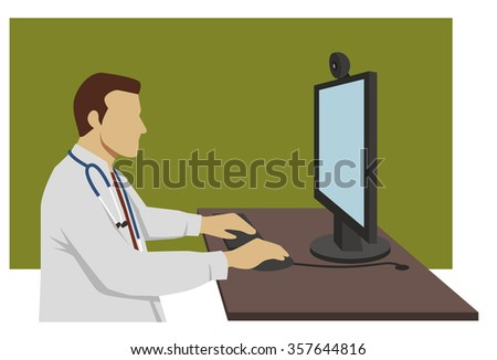 doctor sitting at his desk in front of a computer