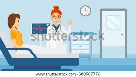 Doctor visiting patient. - stock vector