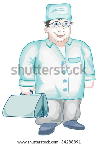 Doctor with first-aid set costs near case of hospital, vector illustration