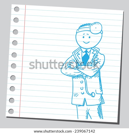 Doctor with folded arms - stock vector